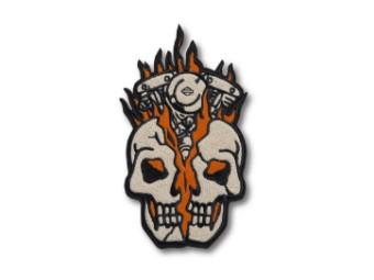 Harley Davidson Totenschädel, Motor Patch, beige