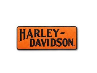 Harley Davidson Logo, Bügeleisen-Abzeichen, orange/schwarz