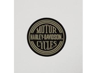 Harley Davidson, runder gummierter Patch, grau / schwarz