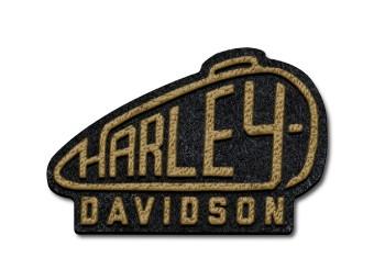 Harley Davidson, 80er Jahre Tank-Patch, Schwarz, Gold/Gelb