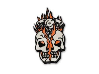 Harley Davidson Totenschädel, Motor Pin, weiß