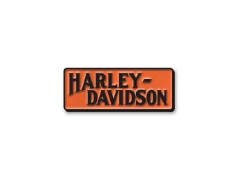 Harley Davidson Logo, Pin, orange/schwarz