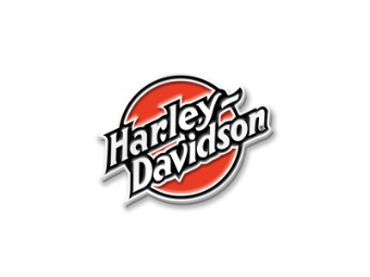 Harley Davidson, runder Pin, orange / weiß