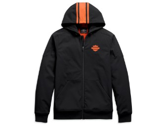 Hooded Jacke Vertical Stripe schwarz & orange