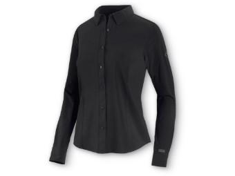 Damen Four-Way Stretch Popeline Shirt schwarz