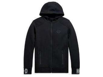 Zip Hoodie Rib-Knit Side schwarz