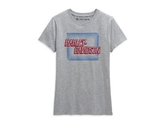 Damen T-Shirt Retro Outline grau