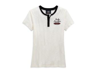 Damen Henley T-Shirt Winged Off-White