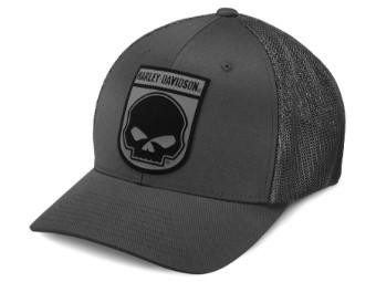 Trucker Cap Rubber Skull grau