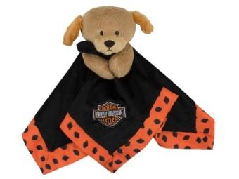 Harley Davidson Plüsch Hund mit Schmusedecke, orange/schwarz