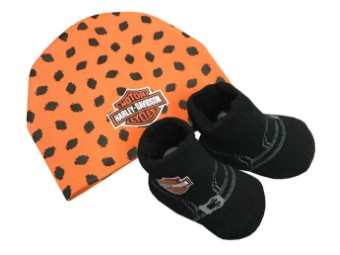 Baby Mütze & Biker Stiefelchen orange & schwarz