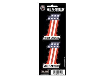 Harley-Davidson#1 Rot, Weiß & Blau, 2-teilige holografische Abziehbilder