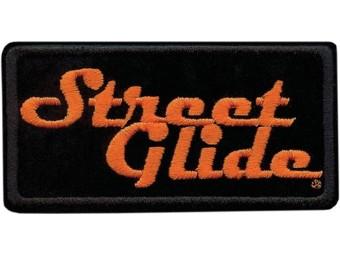 4 inch, besticktes Street Glide Emblem Aufnäher - Schwarz/Orange