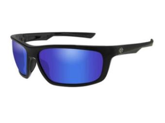 Gears Sonnenbrille, blaue Spiegelgläser & glänzenden schwarzen Rahmen
