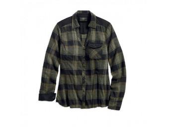 Harley-Davidson® Women's Denim Accent Plaid Long Sleeve Shirt