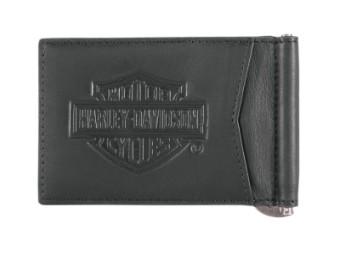 Harley Davidson Ledergeldbörse mit Geldklammer,Bar & Shield Logo