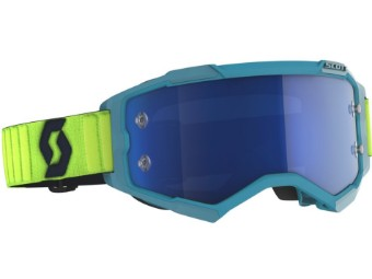 Fury Teal Blue / Neon Yellow Motocross Brille