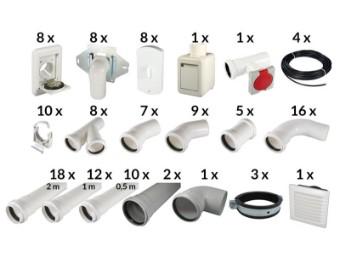 Installationspaket mit 8 Saugdosen
