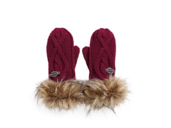Handschuhe Cable Knit & Faux Fur