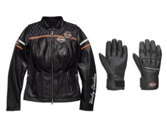 Lederjacke&Handschuh Bar&Shield