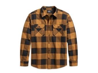 Shirt-Woven,gold Plaid,Slim