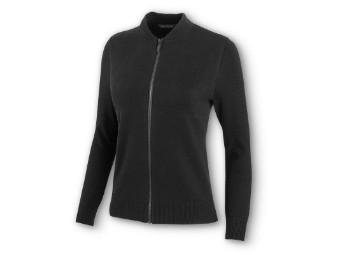Sweater-Logo,Zip UP,L/S,Knt,BL
