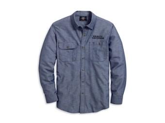 Shirt-Flaming Skull,L/S,Wvn,BL