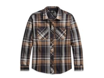 Shirt-Woven,tan Plaid,Slim