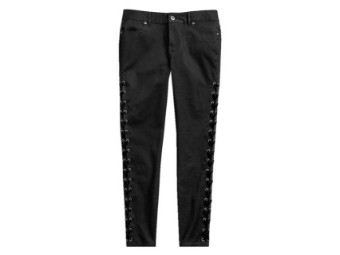 PANT-SIDE LACED,WVN,BLK