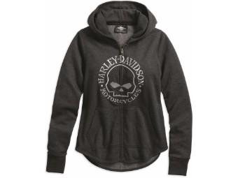 Hoodie-Metallic Skull,Zip Up,L