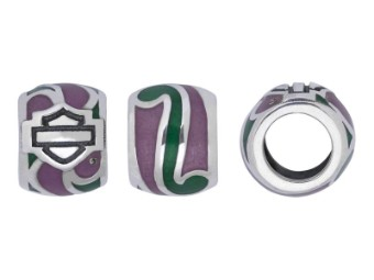Ride Bead Green and Purple Swirl