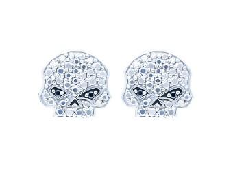 Marcasite & Black CZ Bling Skull