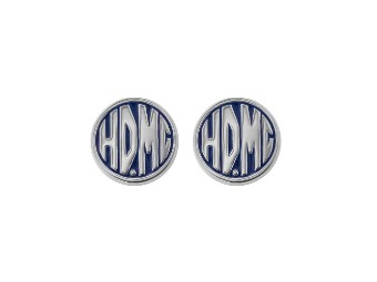 Blue Enamel HDMC Post Earrings