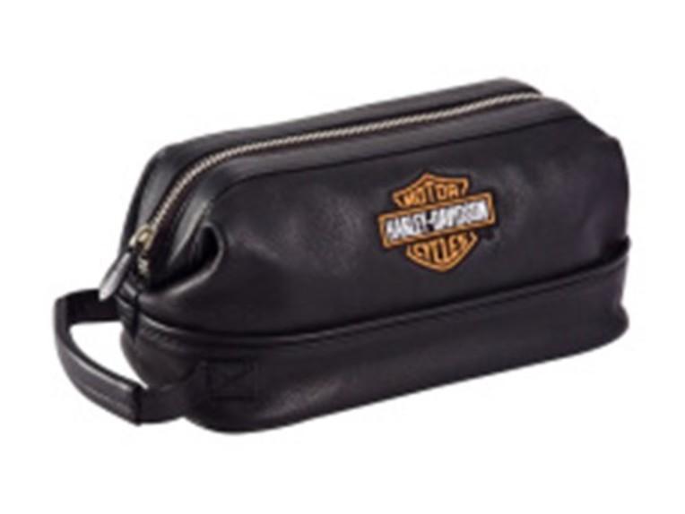 99609-BLACK, Leather Toiletry Kit - Black