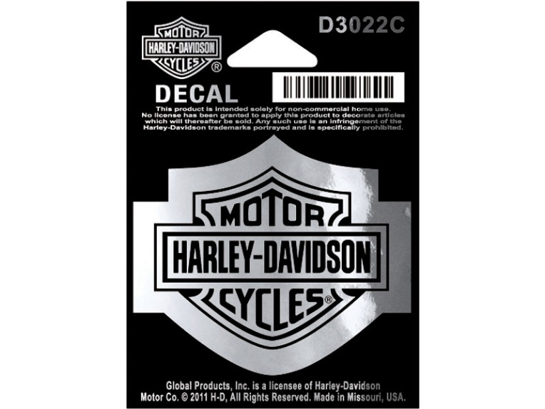 D3022C, Decal, Bar & Shield, SM, Chrome, 2 1