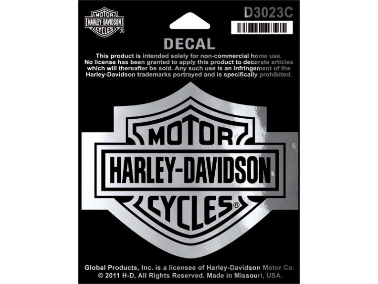 D3023C, Decal, Bar & Shield, MD, Chrome, 3 1