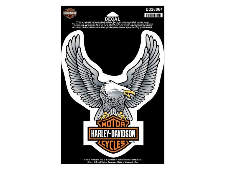 D328064, Decal, Upwing Eagle, Silver, LG, 6 1