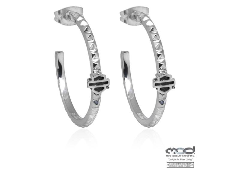 HDE0341, Studded B&S Hoop Earrings