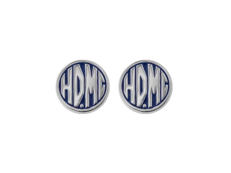 HDE0490, Blue Enamel HDMC Post Earrings