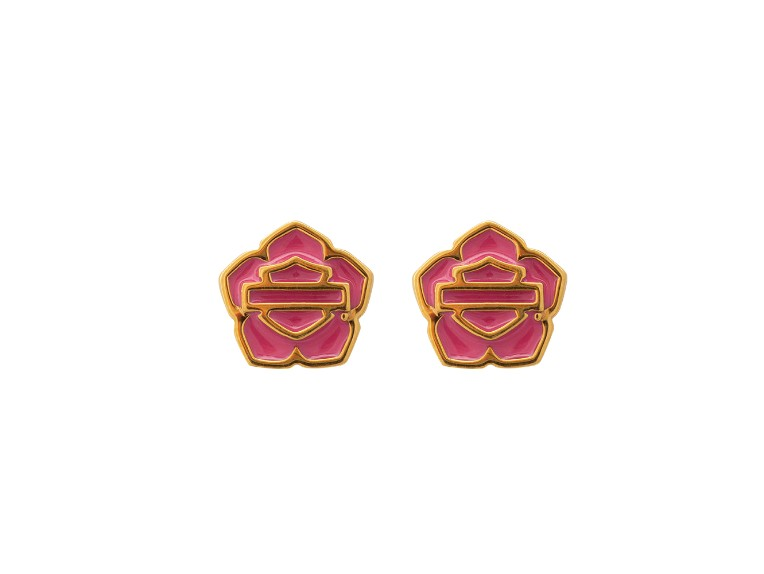 HDE0491, Gold Plated Pink , Earrings