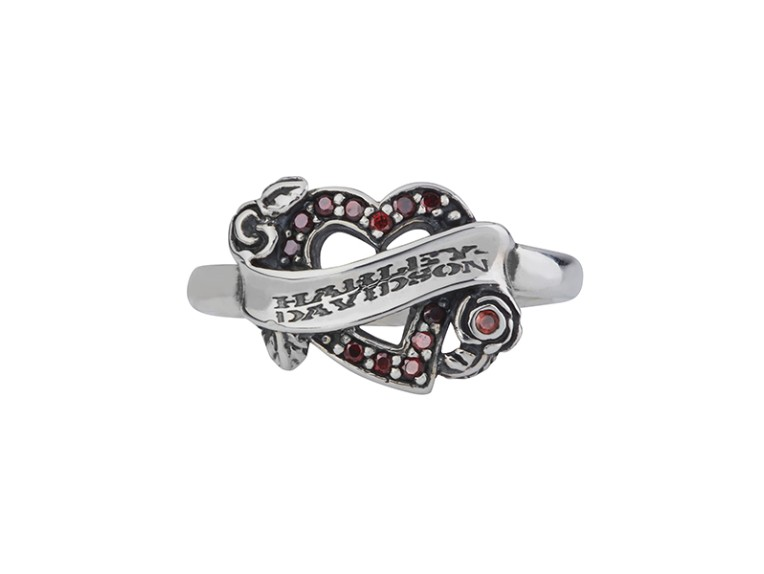 HDR134G/6, Plain silver ring Garnet