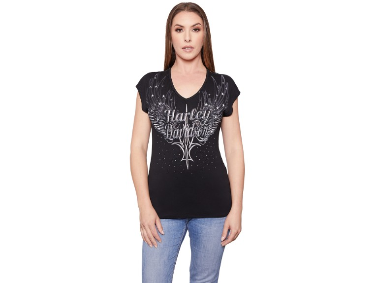 HT4509BLK-S, Damen T-Shirt Stars&States