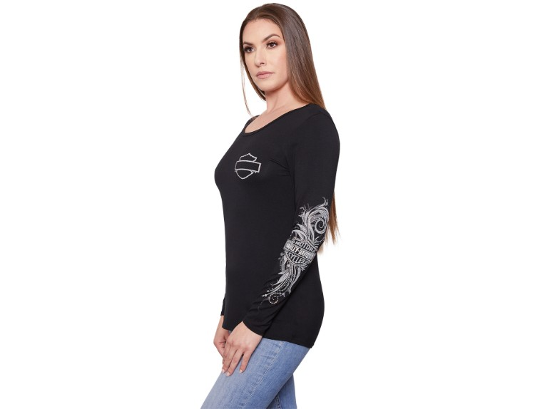 HT4584BLK -S, Damen Longshirt Swirl