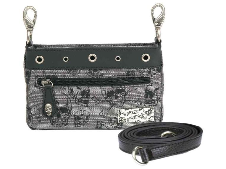 SC2574J-BLACK, Chrome Skull Jacq Hip Bag w/Strap