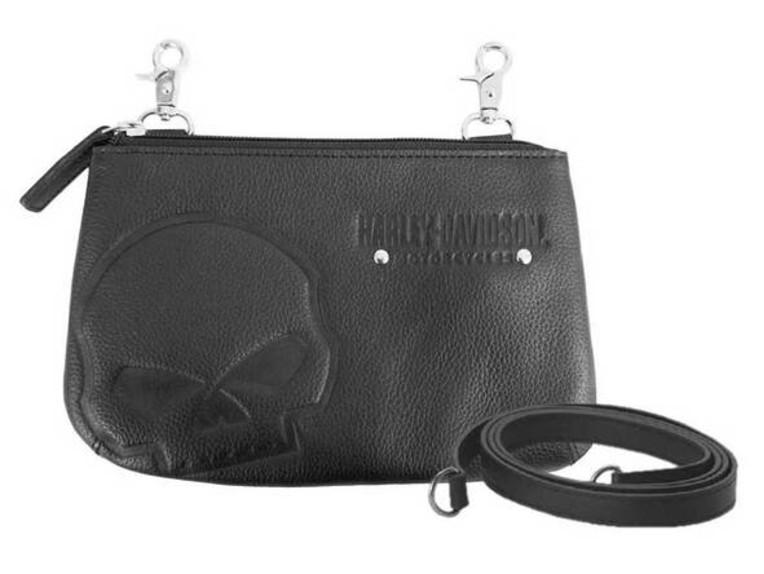 SEW9023-BLACK, Skull Embossed Hip Bag