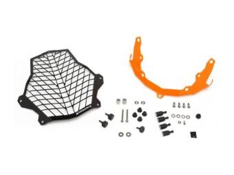 Scheinwerferschutz Edelstahl schwarz/orange mit Schnellverschluss