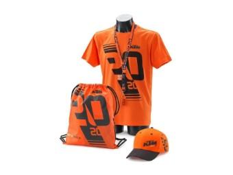 Das KTM FAN Package - T-Shirt, Cap, Bag, Lanyard (Schlüsselanhänger), Ohrstöpsel