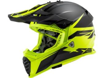 Helm - MX437 Fast Evo Roar Matt Black Hi-V Yellow