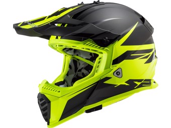 Helm - MX437 Fast Evo Roar Matt Black Hi-V Yellow
