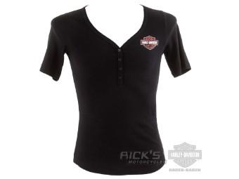 "Damen T-Shirt ""Henley"" Schwarz 96148-21VW Bar & Shield Logo"